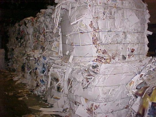 Baled paper recycling